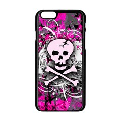 Pink Skull Splatter Apple Iphone 6 Black Enamel Case by ArtistRoseanneJones