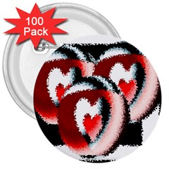 Heart Time 3 3  Buttons (100 Pack)