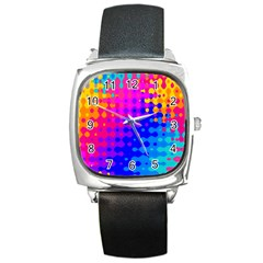 Totally Trippy Hippy Rainbow Square Metal Watches by KirstenStar
