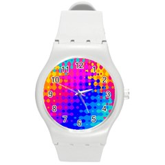 Totally Trippy Hippy Rainbow Round Plastic Sport Watch (m) by KirstenStar