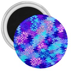Blue And Purple Marble Waves 3  Magnets by KirstenStar