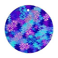 Blue And Purple Marble Waves Ornament (round)  by KirstenStar