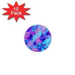 Blue And Purple Marble Waves 1  Mini Magnet (10 Pack)  by KirstenStar