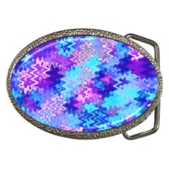 Blue And Purple Marble Waves Belt Buckles by KirstenStar