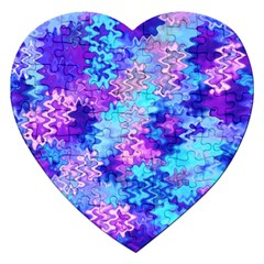 Blue And Purple Marble Waves Jigsaw Puzzle (heart) by KirstenStar