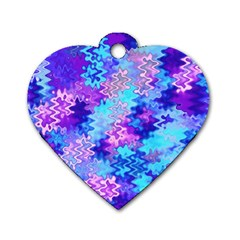 Blue And Purple Marble Waves Dog Tag Heart (one Side) by KirstenStar