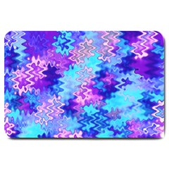 Blue And Purple Marble Waves Large Doormat  by KirstenStar
