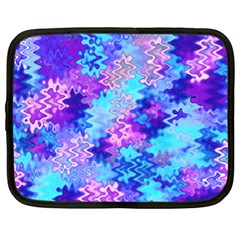 Blue And Purple Marble Waves Netbook Case (large) by KirstenStar