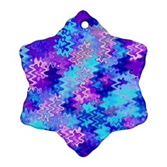 Blue And Purple Marble Waves Ornament (snowflake)  by KirstenStar