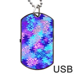 Blue And Purple Marble Waves Dog Tag Usb Flash (one Side) by KirstenStar