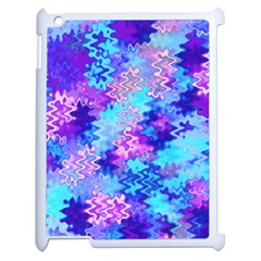 Blue And Purple Marble Waves Apple Ipad 2 Case (white) by KirstenStar