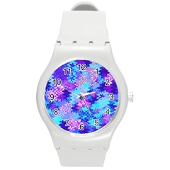 Blue And Purple Marble Waves Round Plastic Sport Watch (m) by KirstenStar