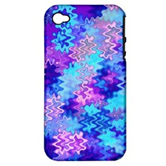 Blue And Purple Marble Waves Apple Iphone 4/4s Hardshell Case (pc+silicone) by KirstenStar
