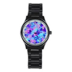 Blue And Purple Marble Waves Stainless Steel Round Watches by KirstenStar