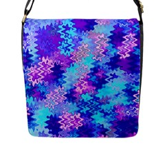 Blue And Purple Marble Waves Flap Messenger Bag (l)  by KirstenStar