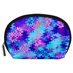 Blue And Purple Marble Waves Accessory Pouches (large)  by KirstenStar