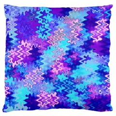 Blue and Purple Marble Waves Large Flano Cushion Cases (One Side)  by KirstenStar