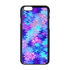 Blue And Purple Marble Waves Apple Iphone 6 Black Enamel Case by KirstenStar