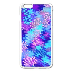 Blue And Purple Marble Waves Apple Iphone 6 Plus Enamel White Case by KirstenStar