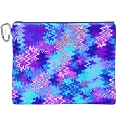 Blue And Purple Marble Waves Canvas Cosmetic Bag (xxxl)  by KirstenStar