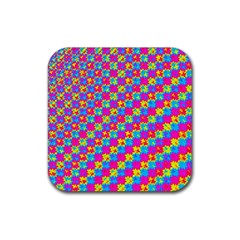 Crazy Yellow And Pink Pattern Rubber Coaster (square)  by KirstenStar