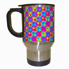 Crazy Yellow And Pink Pattern Travel Mugs (white) by KirstenStar