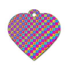 Crazy Yellow And Pink Pattern Dog Tag Heart (one Side) by KirstenStar