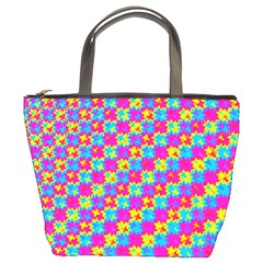 Crazy Yellow And Pink Pattern Bucket Bags by KirstenStar