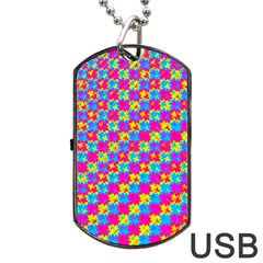 Crazy Yellow And Pink Pattern Dog Tag Usb Flash (one Side) by KirstenStar