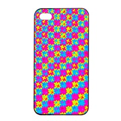 Crazy Yellow And Pink Pattern Apple Iphone 4/4s Seamless Case (black) by KirstenStar