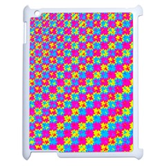 Crazy Yellow And Pink Pattern Apple Ipad 2 Case (white) by KirstenStar