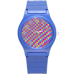 Crazy Yellow And Pink Pattern Round Plastic Sport Watch (s) by KirstenStar