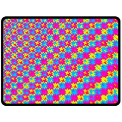 Crazy Yellow And Pink Pattern Double Sided Fleece Blanket (large)  by KirstenStar