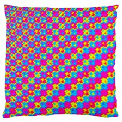 Crazy Yellow And Pink Pattern Large Flano Cushion Cases (one Side)  by KirstenStar