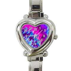 Stormy Pink Purple Teal Artwork Heart Italian Charm Watch by KirstenStar
