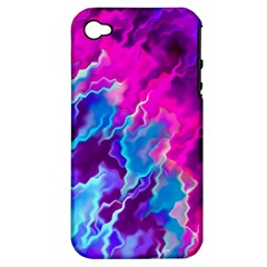 Stormy Pink Purple Teal Artwork Apple Iphone 4/4s Hardshell Case (pc+silicone) by KirstenStar