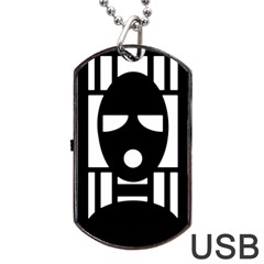 Masked Dog Tag Usb Flash (one Side) by ArtistRoseanneJones