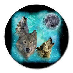 Wolves Shiney Grim Moon 3000 8  Mouse Pad (round) by ratherkool
