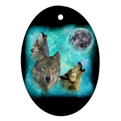 Wolves Shiney Grim Moon 3000 Oval Ornament by ratherkool