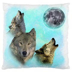 Wolves Shiney Grim Moon 3000 Standard Flano Cushion Cases (two Sides)  by ratherkool