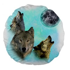 Wolves Shiney Grim Moon 3000 Large 18  Premium Flano Round Cushions