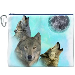Wolves Shiney Grim Moon 3000 Canvas Cosmetic Bag (XXXL)  by ratherkool