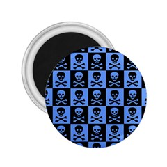 Blue Skull Checkerboard 2 25  Magnets by ArtistRoseanneJones