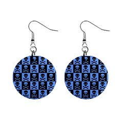 Blue Skull Checkerboard Mini Button Earrings by ArtistRoseanneJones