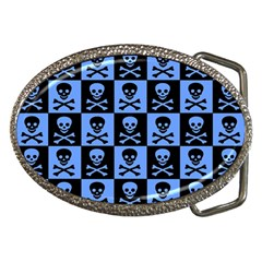 Blue Skull Checkerboard Belt Buckles by ArtistRoseanneJones