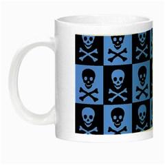 Blue Skull Checkerboard Night Luminous Mugs by ArtistRoseanneJones