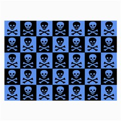 Blue Skull Checkerboard Large Glasses Cloth (2 Side) by ArtistRoseanneJones
