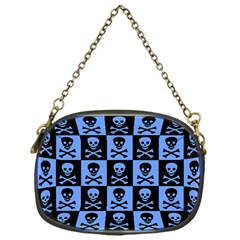 Blue Skull Checkerboard Chain Purses (one Side)