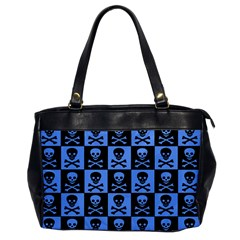 Blue Skull Checkerboard Office Handbags by ArtistRoseanneJones