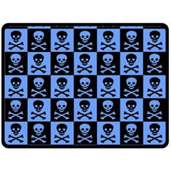 Blue Skull Checkerboard Fleece Blanket (large)  by ArtistRoseanneJones